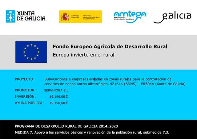 Servinoga recibe la subvención a empresas aisladas en zonas rurales para la contratación de servicios de banda ancha ultrarrápida